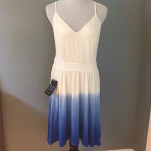 NWT Bebe ombré white and blue dress